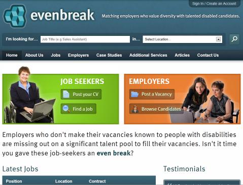 Evenbreak webpage