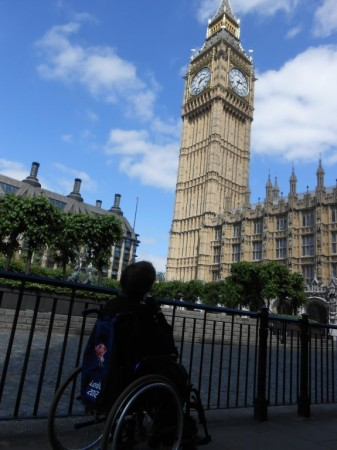 Liz Sheppard outside the Houses of Parliament