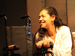 Don't Wake Me - The Ballad of Nihal Armstrong - Jaye Griffiths and wheelchair