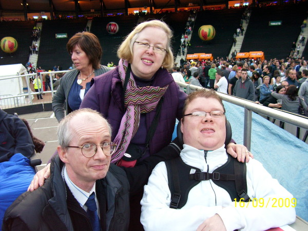 Robert Watson and his parents at a Coldplay concert in 2009