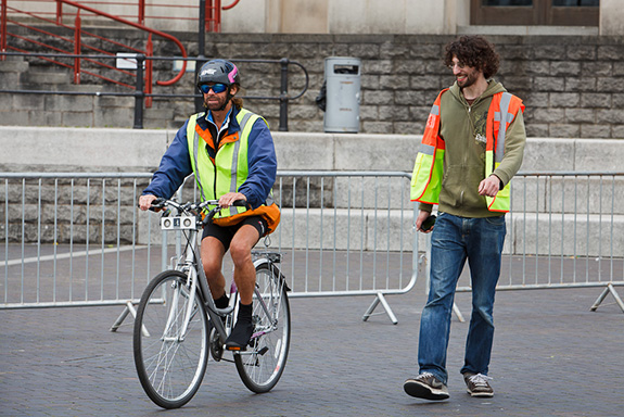 Image of a blidn person riding an UltraBike