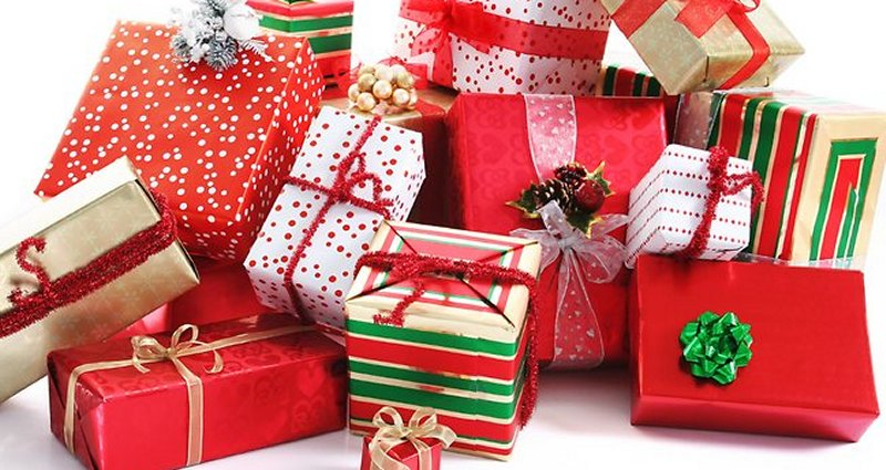Pile or wrapped Christmas gifts