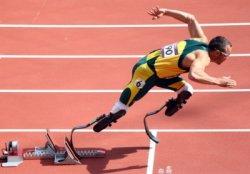 Oscar Pistorios wearing a blade runner prosthetic
