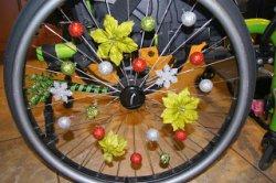 Decorated wheelchair wheel