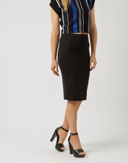 New Look - Black Ribbed Stripe Pencil Skirt - £14.99