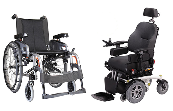 Karma Flexx configurable manual chair and Luca Qlass frontwheel drive power chair