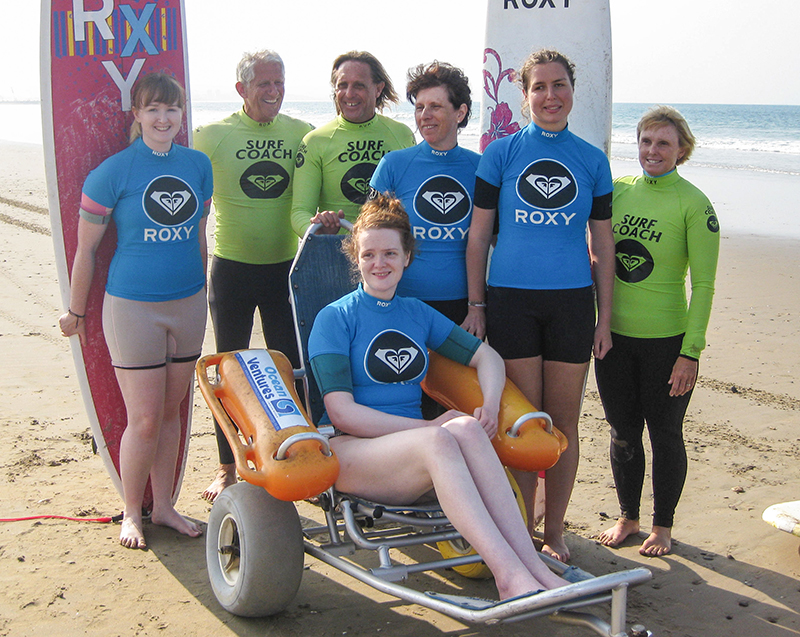 Beth, Jean, Jude and Agata with the team from Roxy's Surf School
