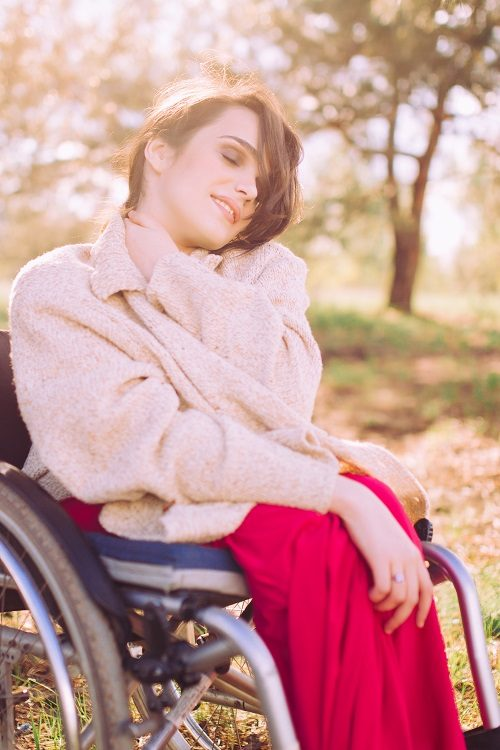 Disabled model Alexandra Kutas in wheelchair