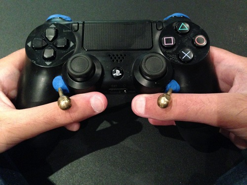 Front of PS4 controller adapted for disability