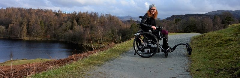 Carrie-Ann in travel wheelchair