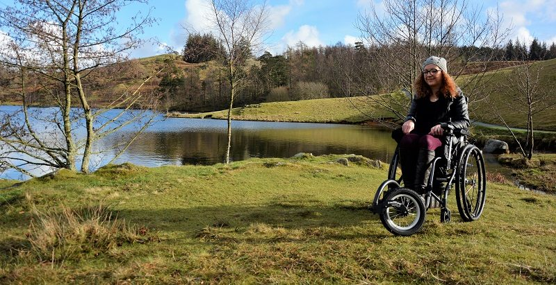Carrie-Ann in the Lake District in her travel wheelchair