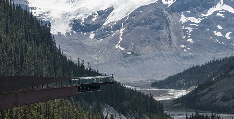 Accessible Glacier Skywalk with mountains behind