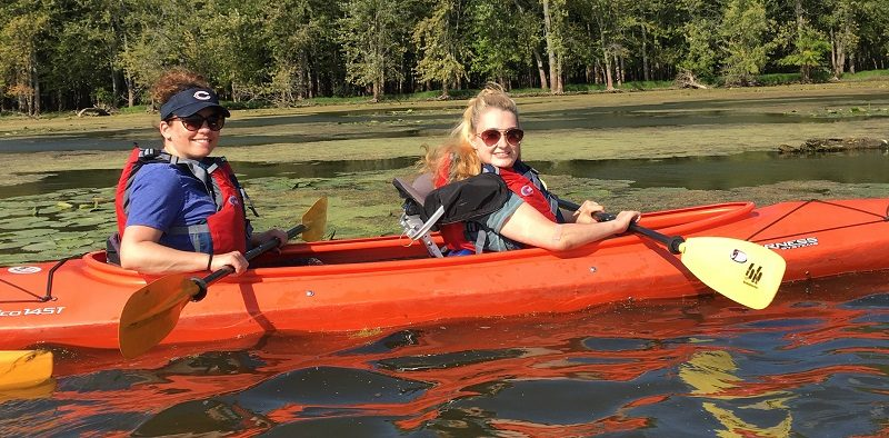 Wheelchair user Shannon kayaking