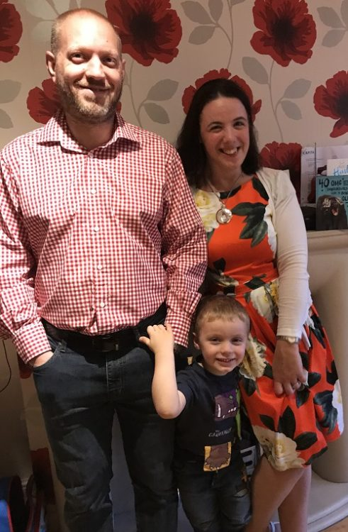 Aideen with her son and husband
