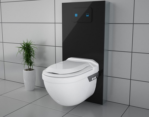 Closomat Asana toilet with black back panel