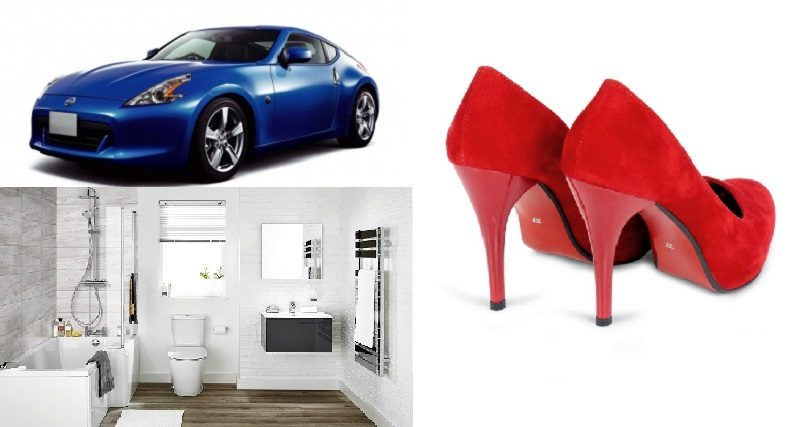 Blue car, modern white bathroom and red high-heeled shoes