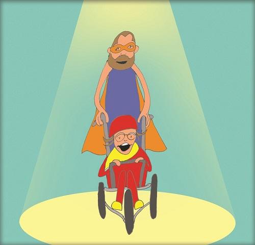Stephan and Chloe cartoons for Superhero Tri event