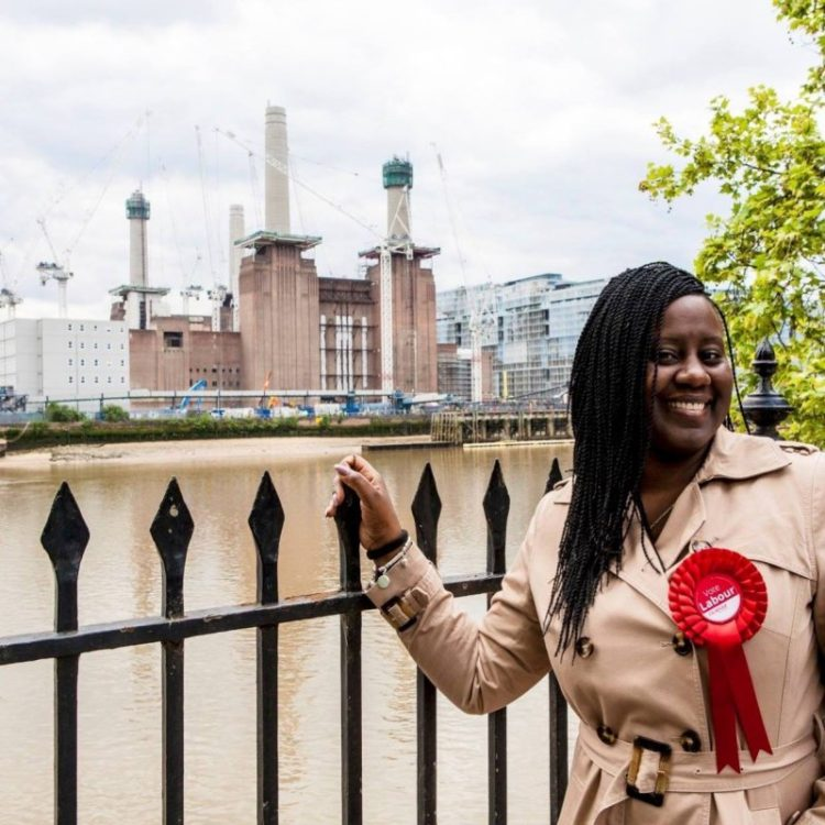 Shadow Minister for Disability Marsha De Cordova in front of Battersea power station