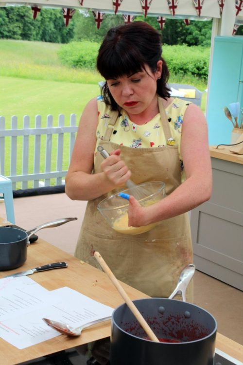 Briony Williams making custard on Great British Bake Off