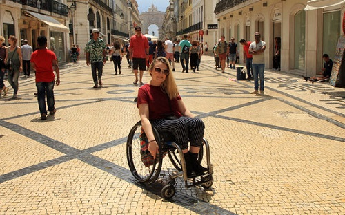 Shannon Kelly in Lisbon in wheelchair
