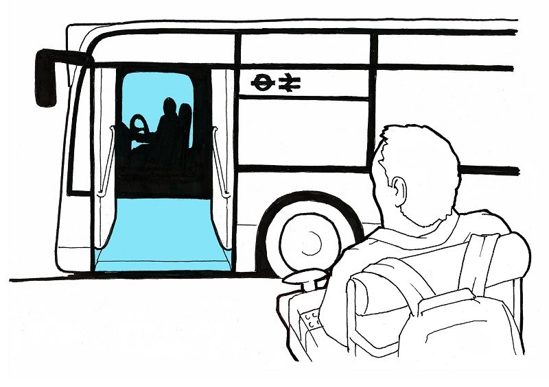 Sketch of AccessAdvisr founder Rob Trent taking the bus