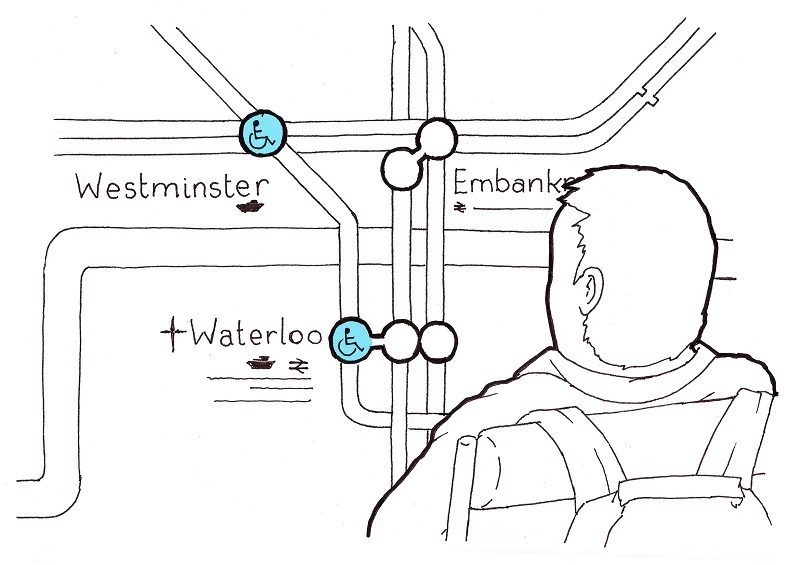 Sketch of Rob Trent looking at London Tube map