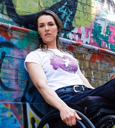 Samanta Bullock in her wheelchair modelling