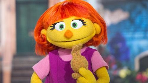 Autistic puppet Julia on Sesame Street