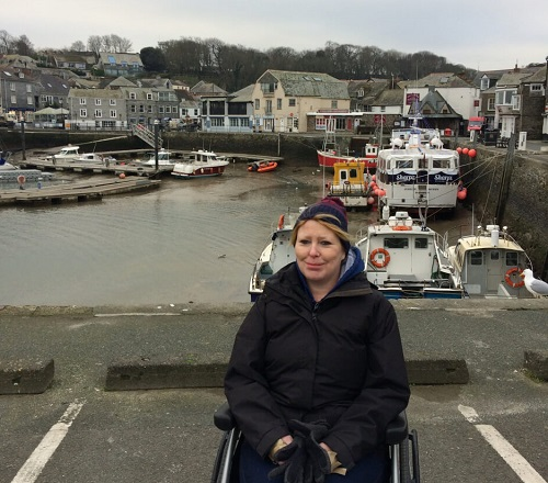 Bridget in her wheelchair at Padstow Harbour