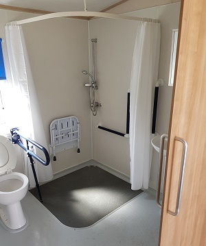 Accessible bathroom in caravan on Isle of Wight