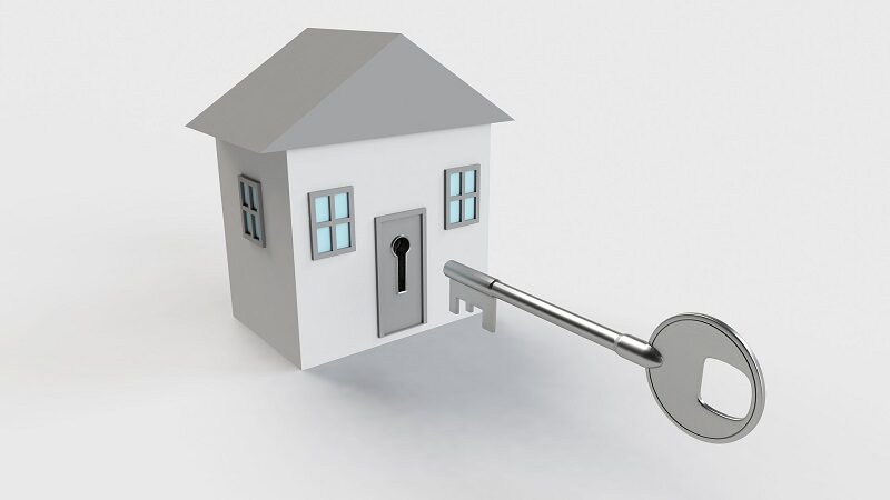 Accessible house with giant key to open it