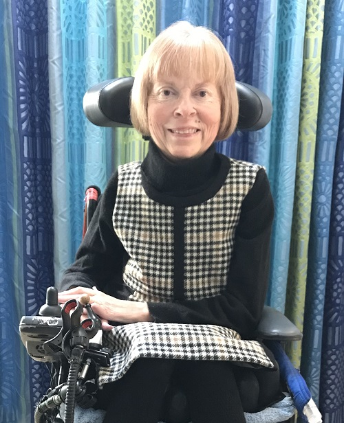 Disabled activist Jane Campbell in her living room