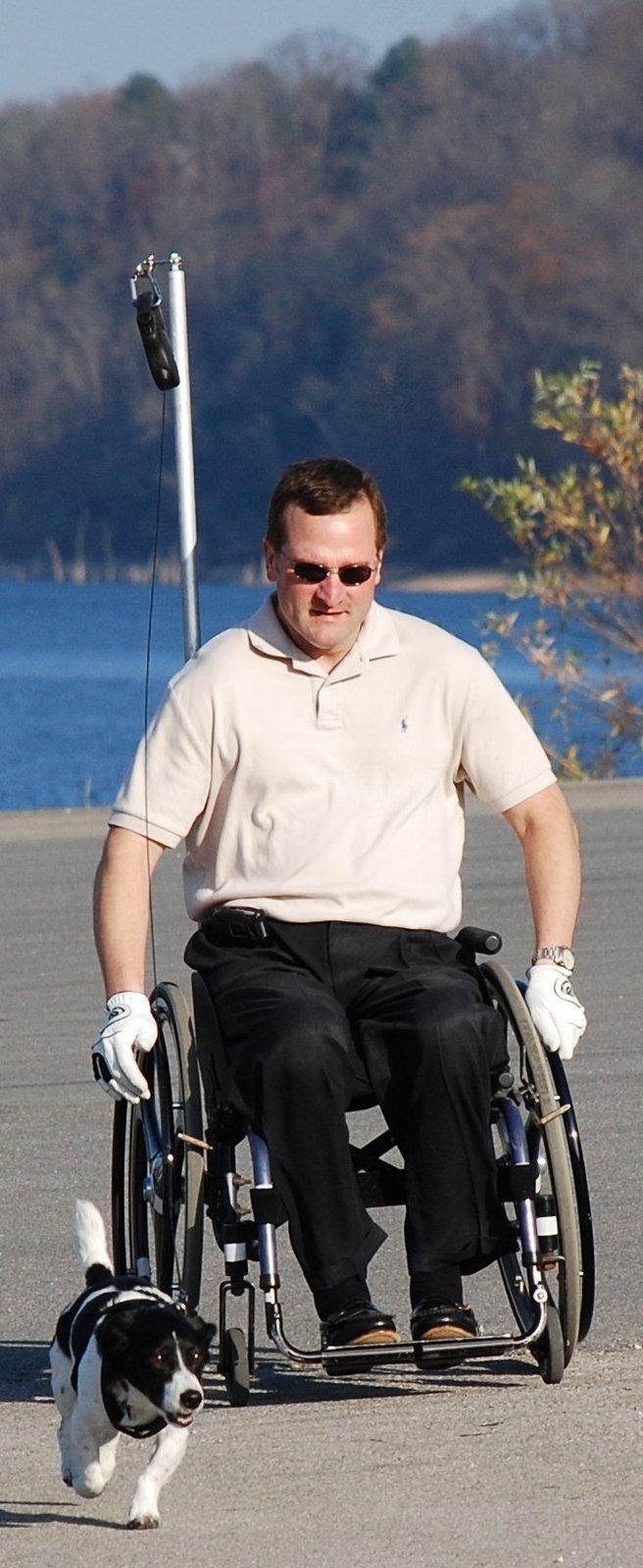 Disabled businessman