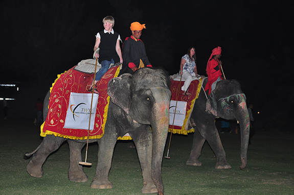 Lynne Kirby's golden tour of India - riding an elephant