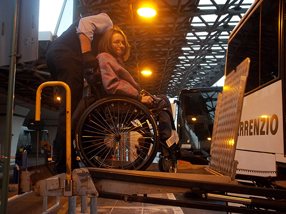Kasia Hawrylo entering an accessible bus