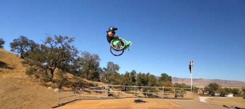 Wheelchair flying through the air