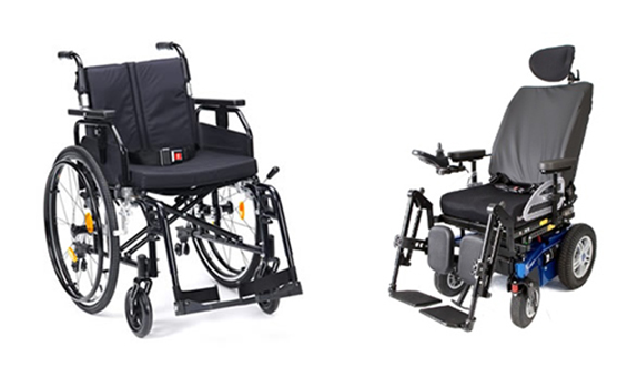 Super Deluxe manual wheelchair (left) and Ottobock B400 Neuro (right)