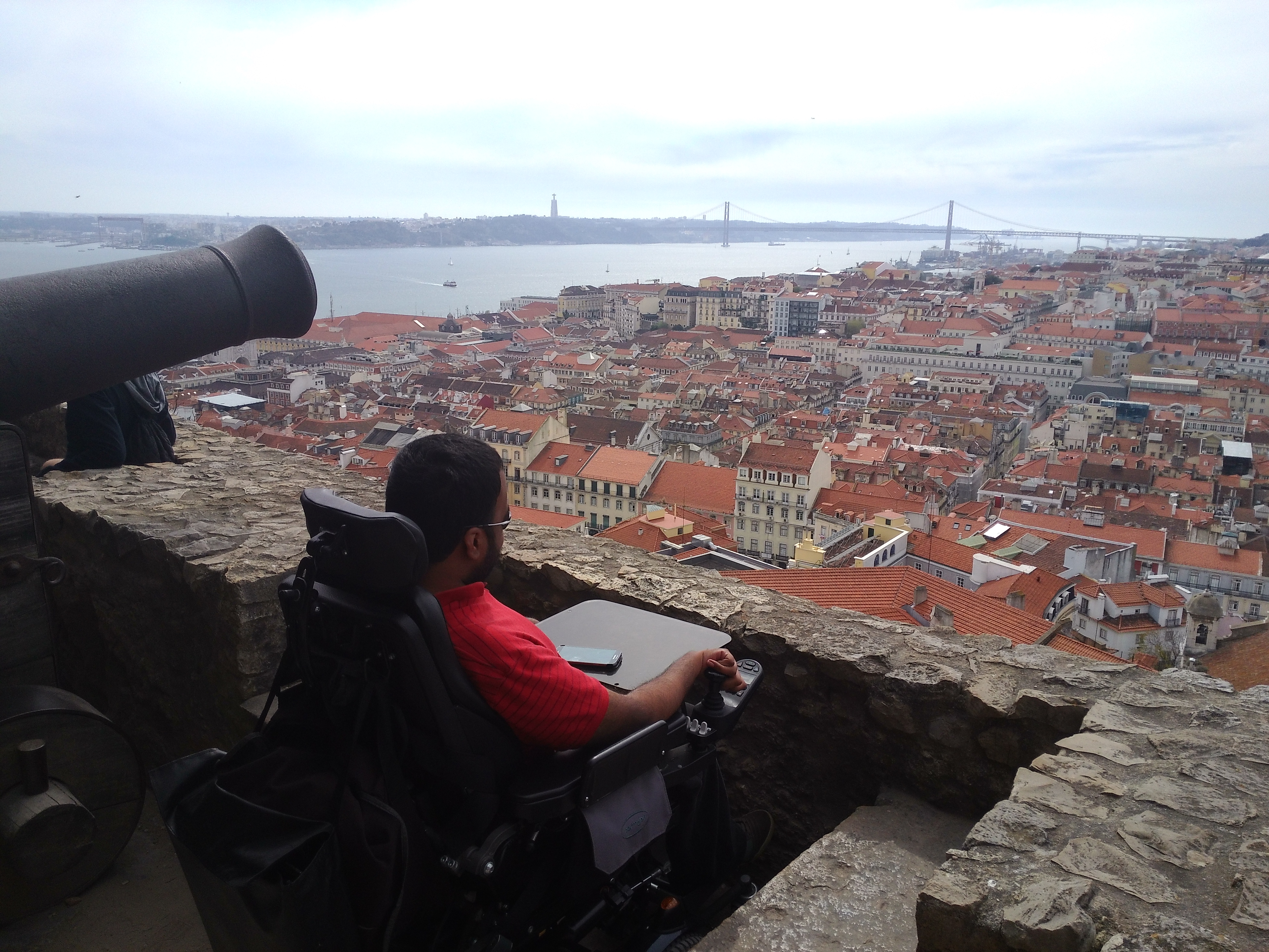 Looking out over Lisbon from the São Jorge Castle.