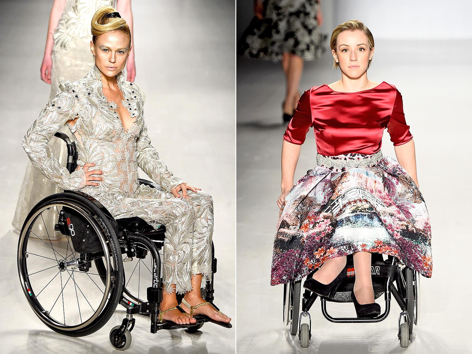 Catwalk models in wheelchairs