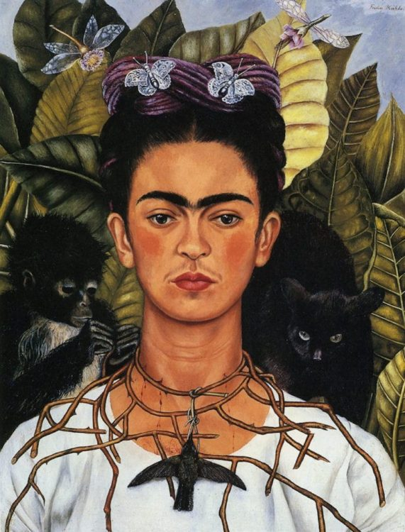 Frida Kahlo painting Self-Portrait with Thorn Necklace and Hummingbird
