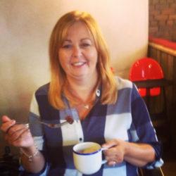 Lynley Adams - having coffee