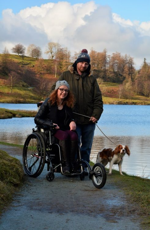 Carrie-Ann in travel wheelchair in Lake District