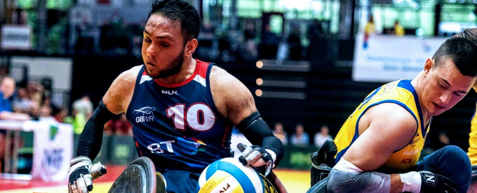 Paralympian Ayaz Bhuta playing wheelchair rugby
