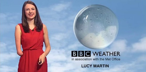 Disabled BBC weather presenter Lucy Martin