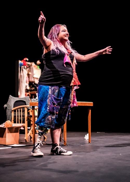 Amputee Jackie Hagan on stage