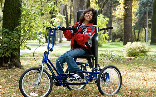 Disabled woman on a Freedom Concept bike