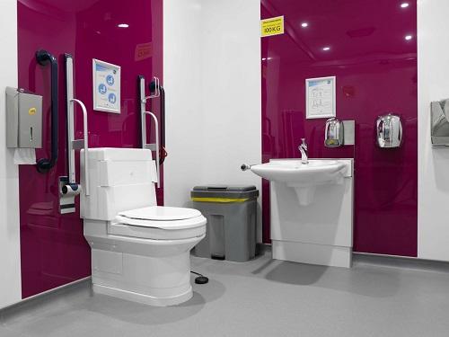 Closomat adapted pink bathroom
