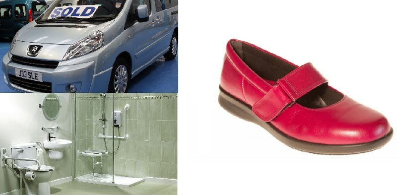 Disabled shoes, clinical accessible bathroom and adapted disabled car