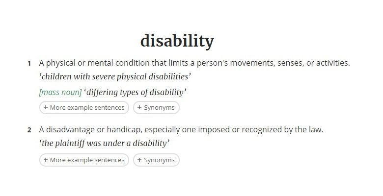 Disability definition in the dictionary