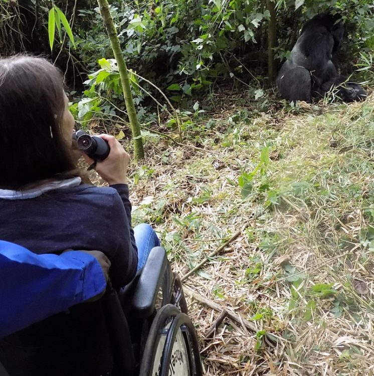 Susie in her wheelchair using binoculars to look at the gorillas